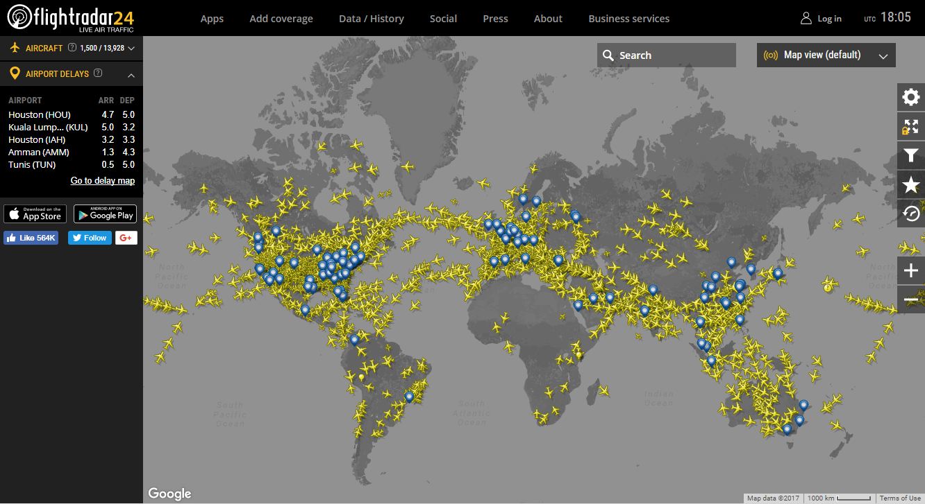 Flight Radar shows you how many planes are en-route at any time